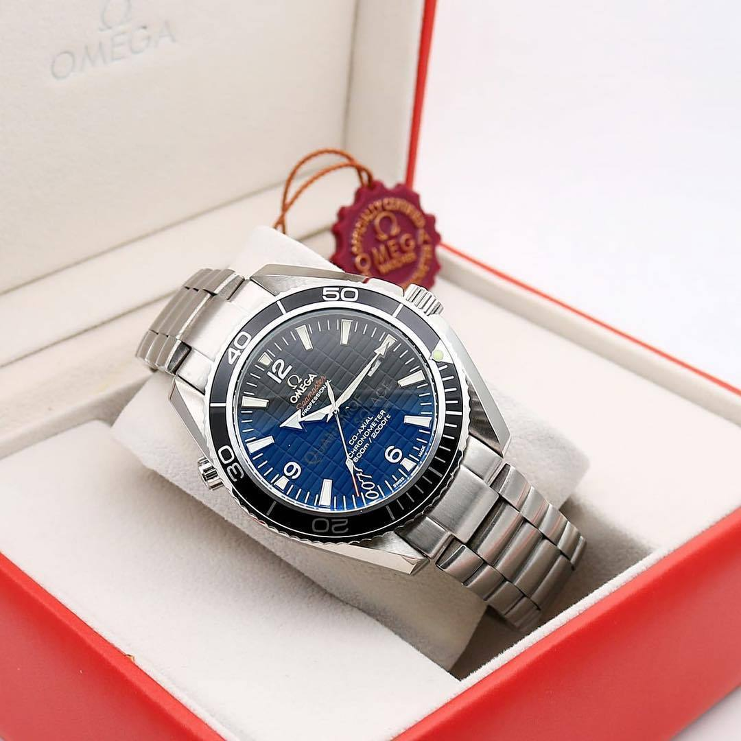 Omega Seamaster Crystal Sapphire Glass Silver Bracelet Men's Automatic Watch First Copy