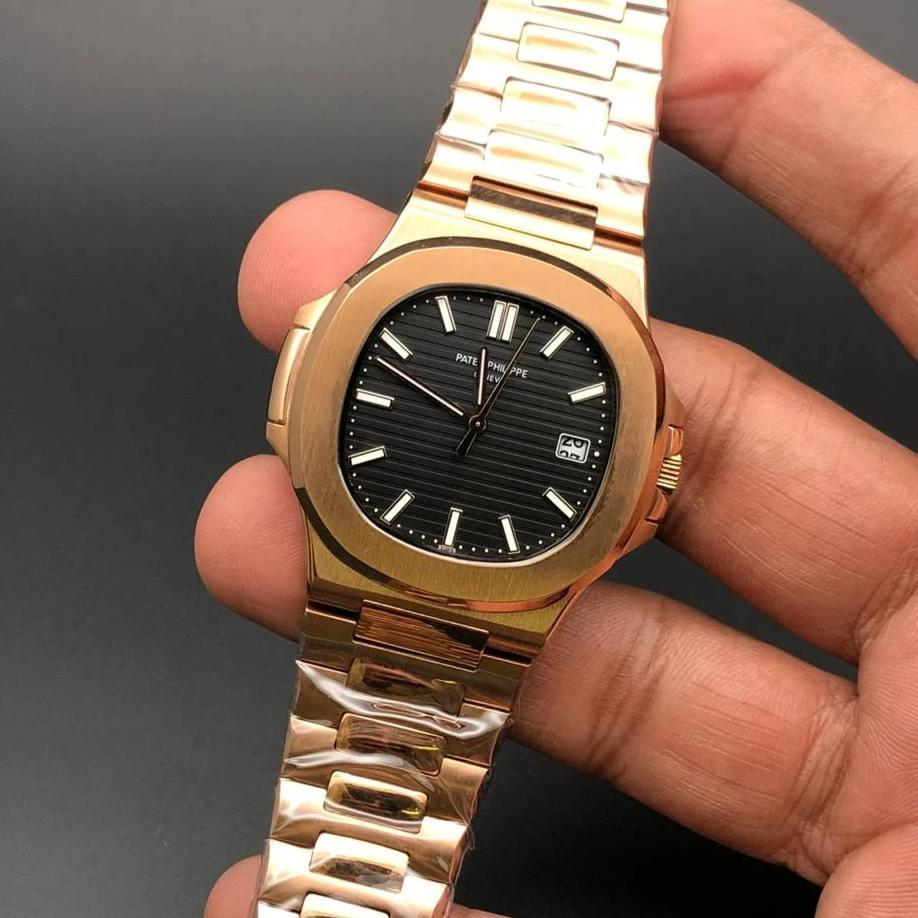 Patek Philippe Geneve Black Dial Golden Bracelet Men's Watch First Copy