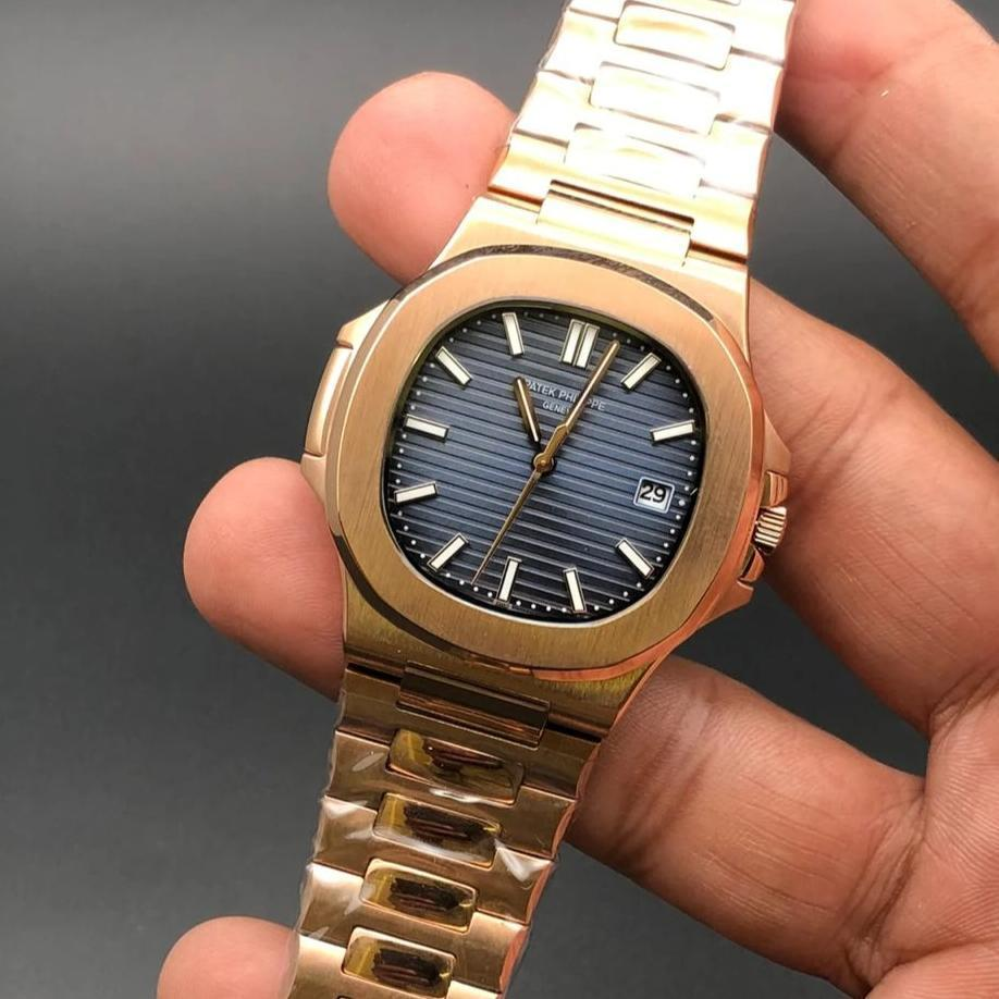 Patek Philippe Geneve Blue Dial Golden Bracelet Men's Watch First Copy