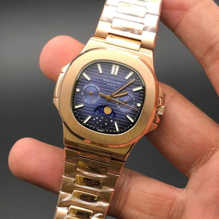 Patek Philippe Geneve Blue Dial Moon Shaft Golden Bracelet Men's Watch First Copy