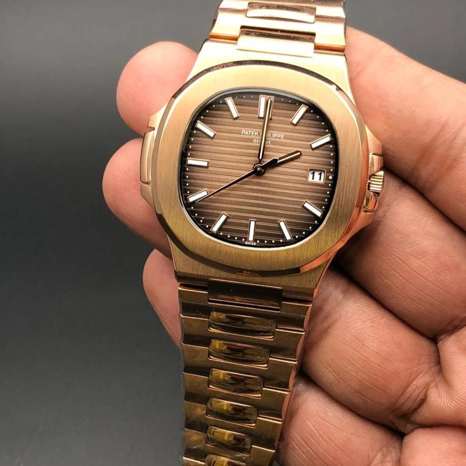 Patek Philippe Geneve Brown Dial Golden Bracelet Men's Watch First Copy