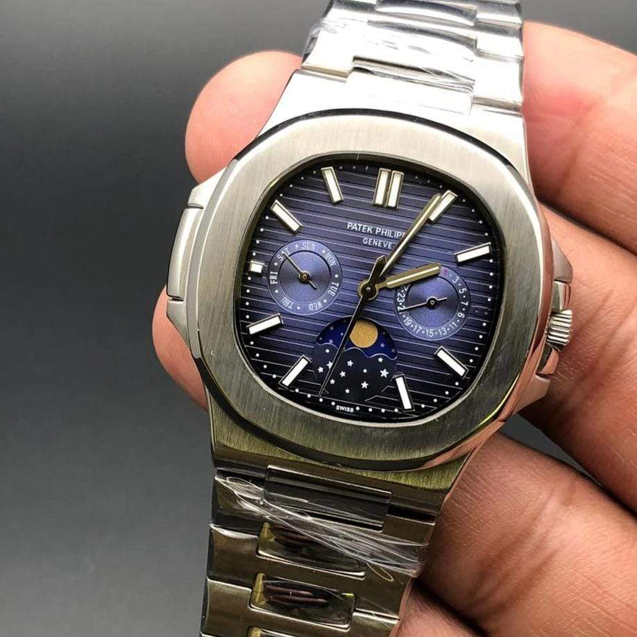 Patek Philippe Geneve Quartz Moon Shaft Blue Dial Bracelet Men's Watch First Copy