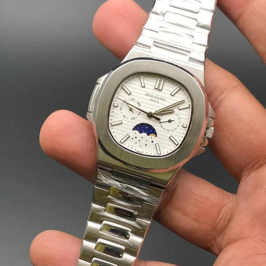 Patek Philippe Geneve White Dial Moon Shaft Silver Bracelet Men's Watch First Copy