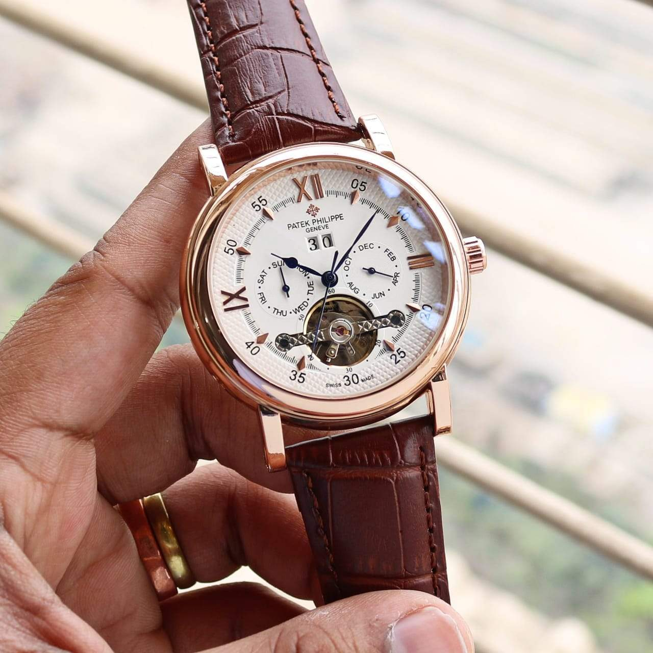 Patek Philippe Tourbillon Automatic Brown Strap Men's Watch First Copy