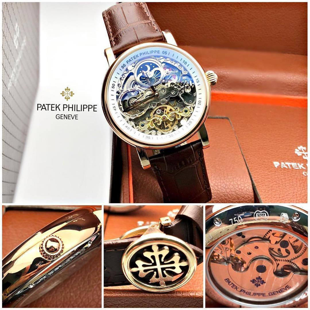 First Copy Patek Philippe White Transparent Dial Men's Watch