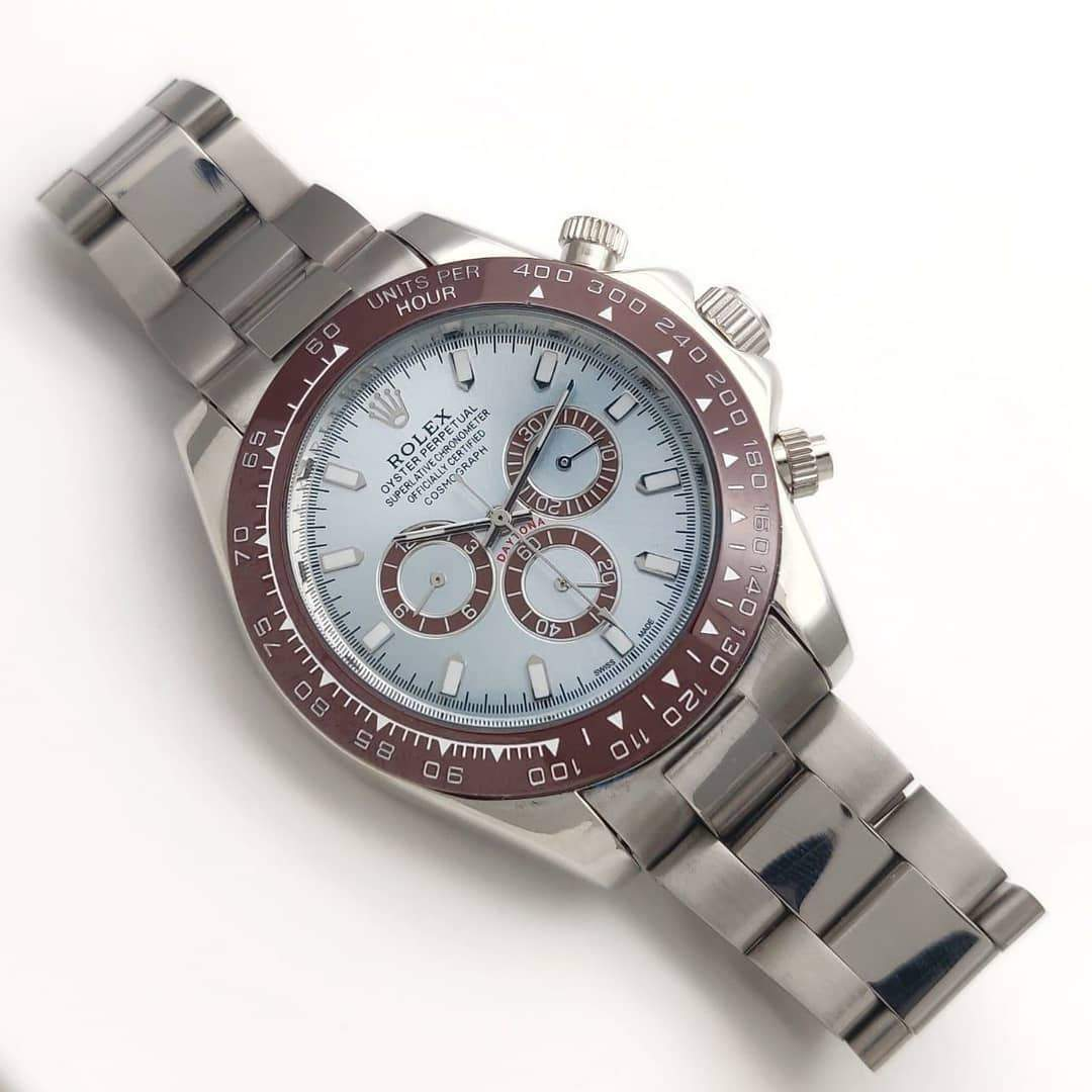 First Copy Rolex Daytona Iceblue Dial Silver Bracelet Men's Watch