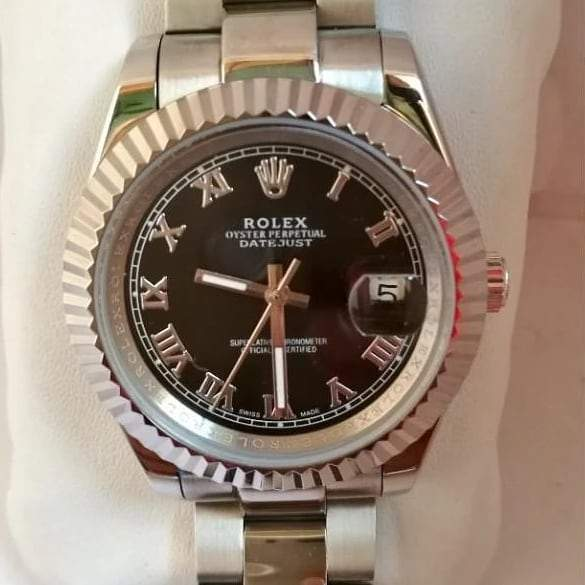 Rolex Oystar Black Dial Silver Bracelet Men's Watch First Copy