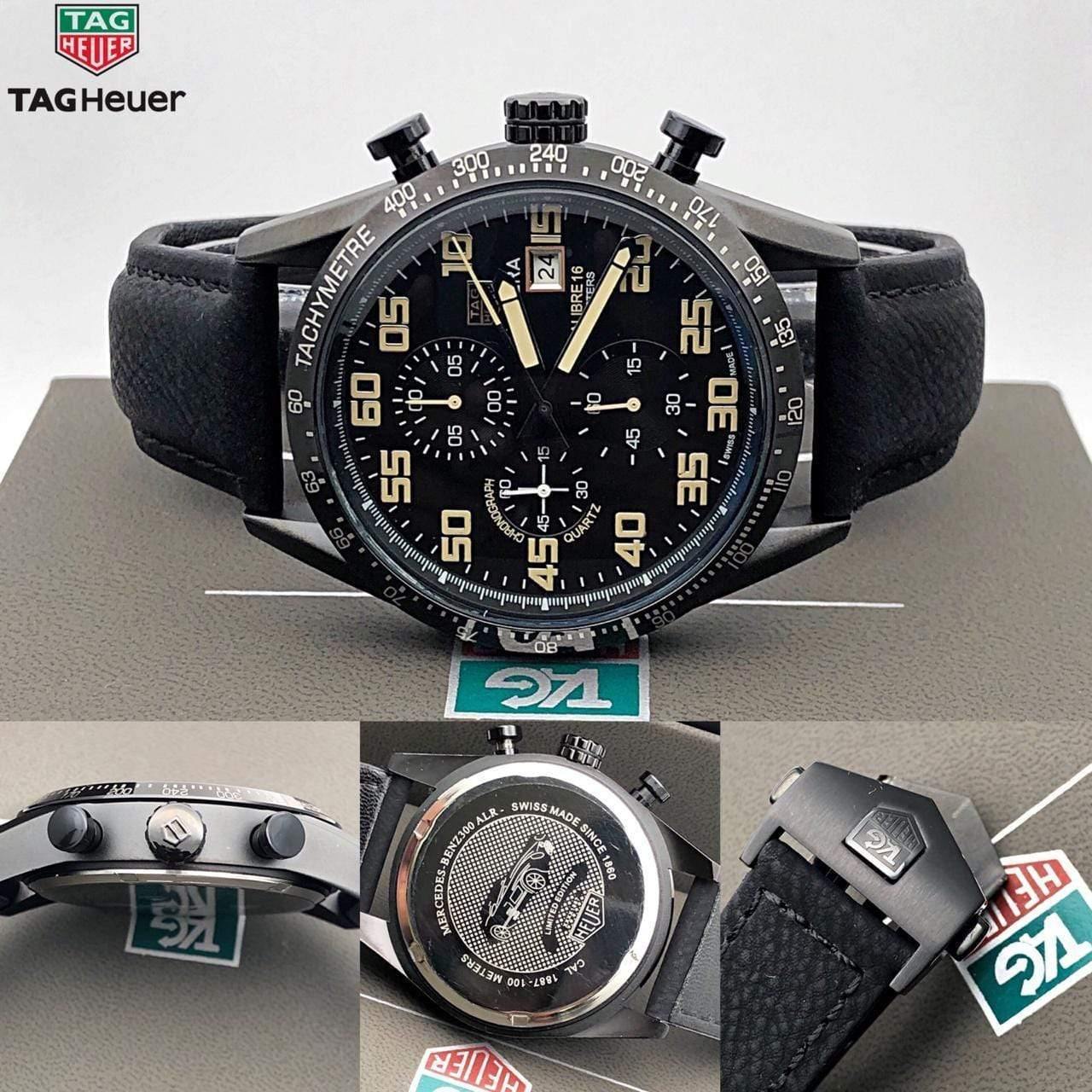 First Copy Tag Heuer Carrera 1963 Black Dial Men's Watch