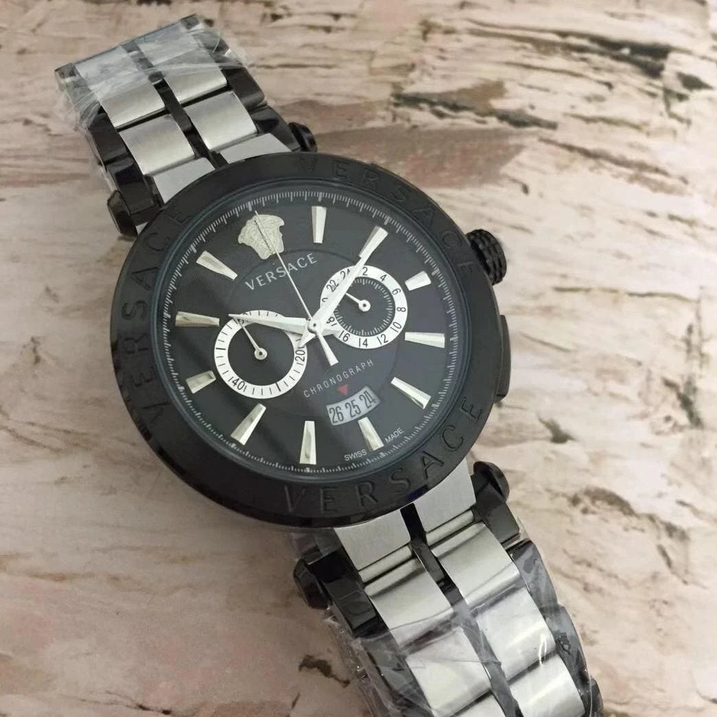 Versace Black Dial Dual tone Bracelet Men's Watch First Copy