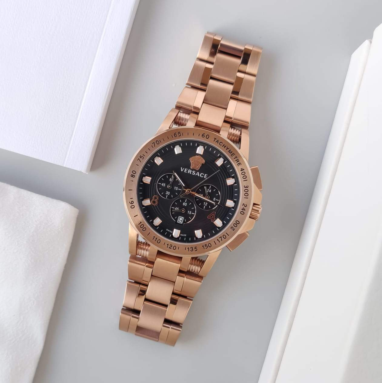 Versace Black Dial Rose Gold Bracelet Men's Watch First Copy