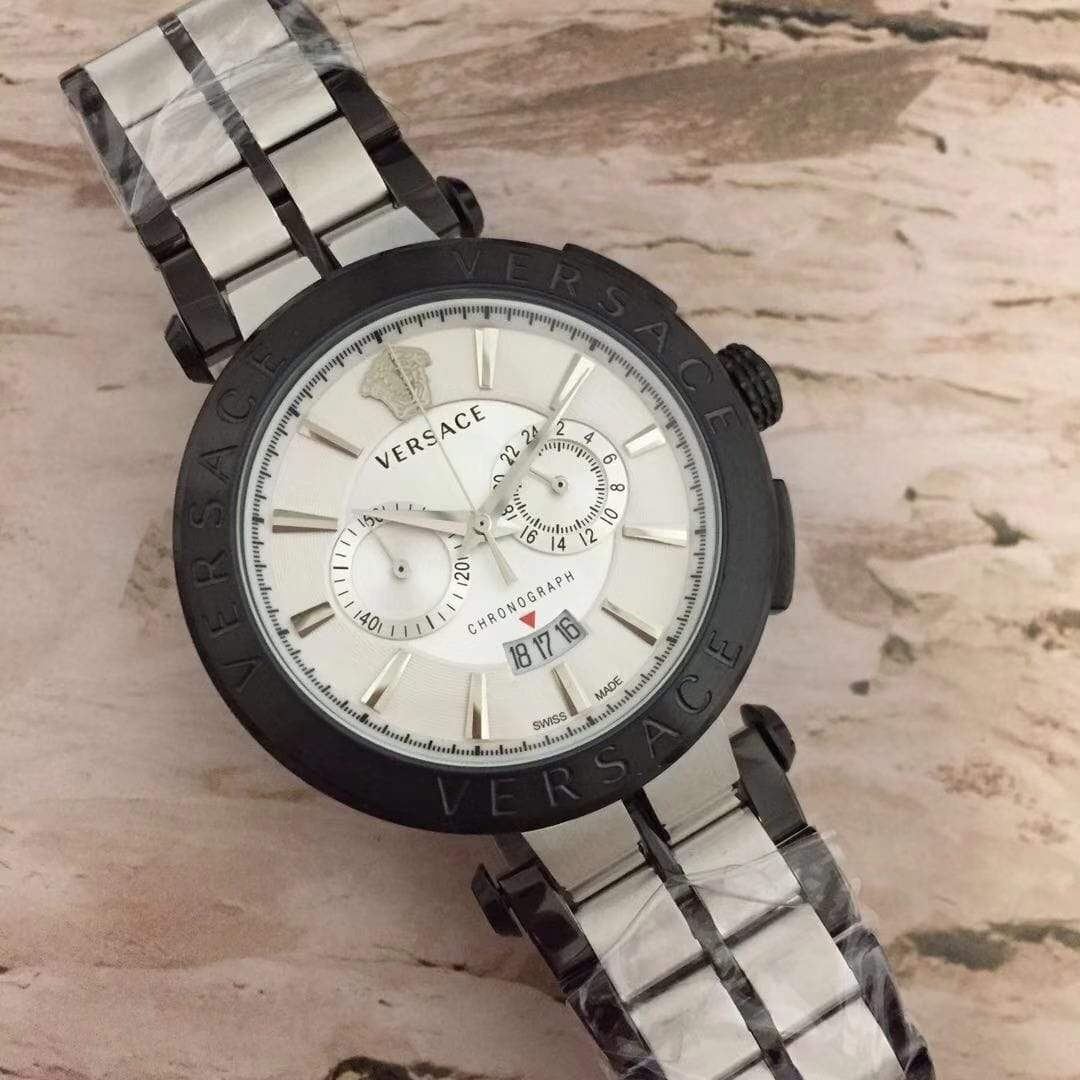 Versace White Dial Dual tone Bracelet Men's Watch First Copy