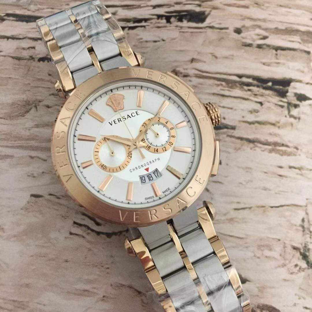 Versace White Dial Rose Gold Dual tone Bracelet Men's Watch First Copy