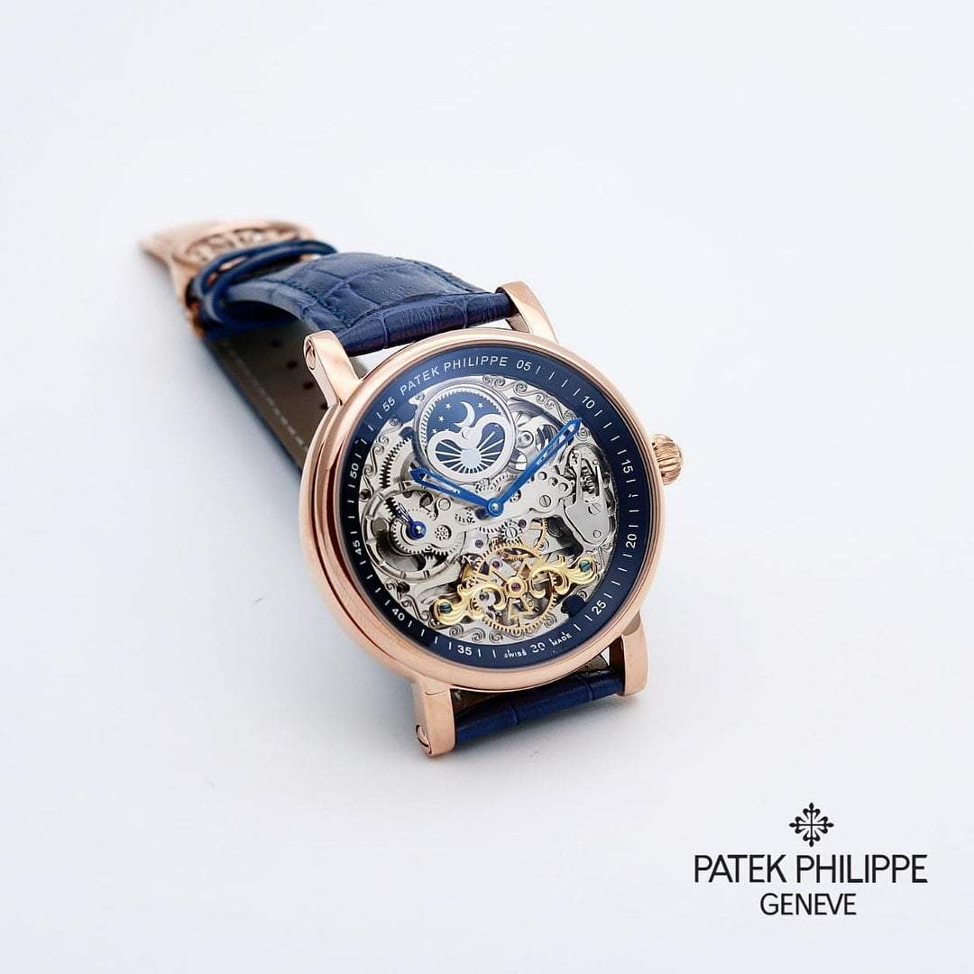 first copy Patek Philippe Blue Transparent Dial Men's Watch