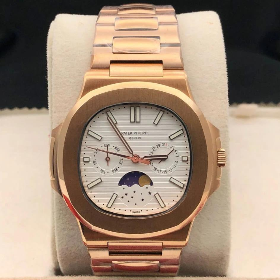 first copy Patek Philippe Geneve Swiss Quartz White Dial Moon Shaft Men's Watch