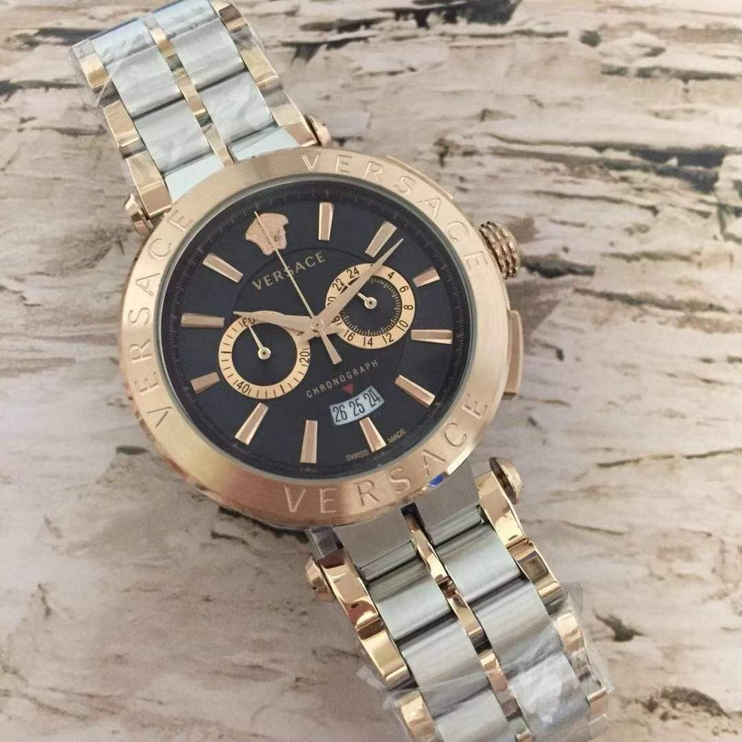 First Copy Versace Black Dial Rose Gold Dual tone Bracelet Men's Watch