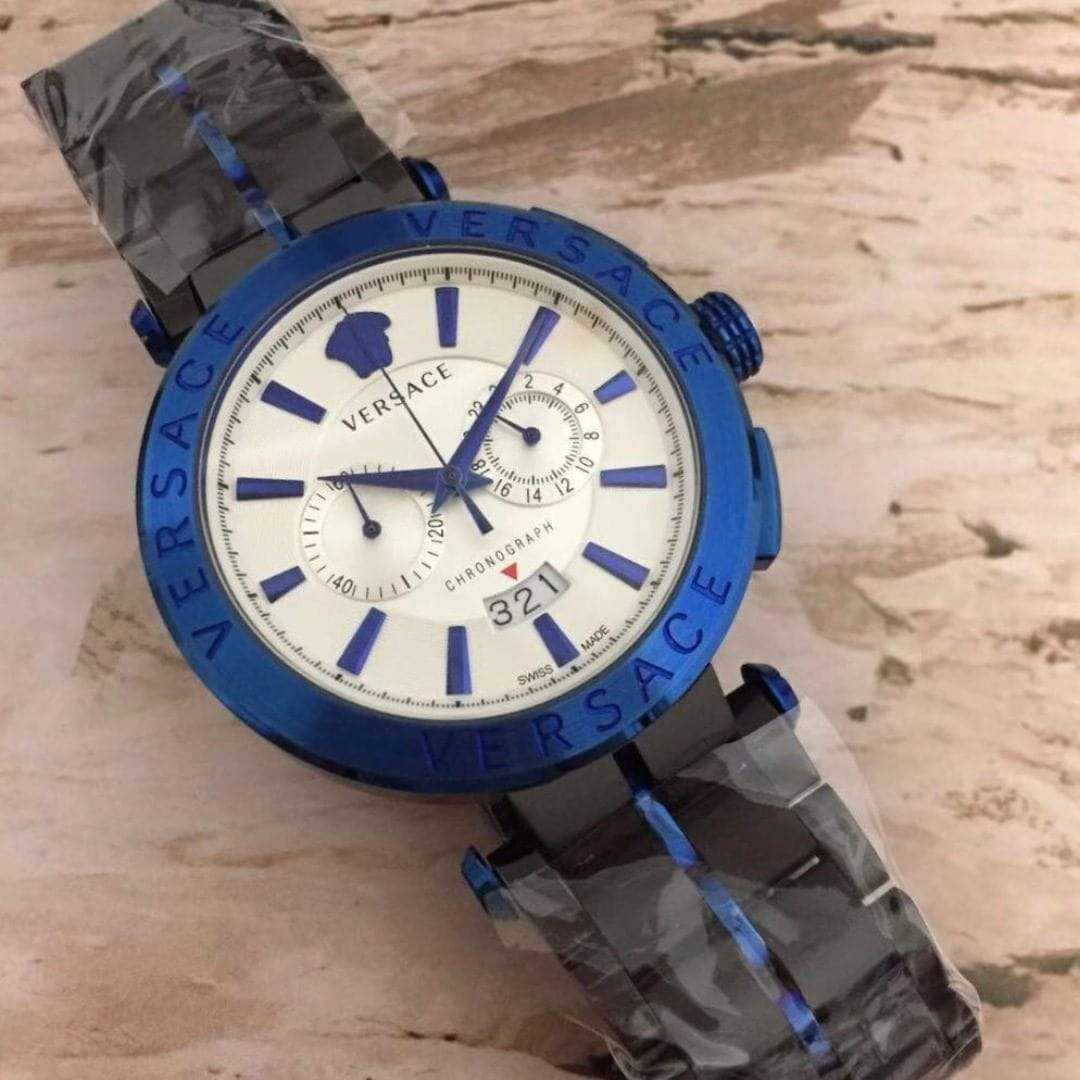 First Copy Versace White Dial Blue Dual tone Bracelet Men's Watch