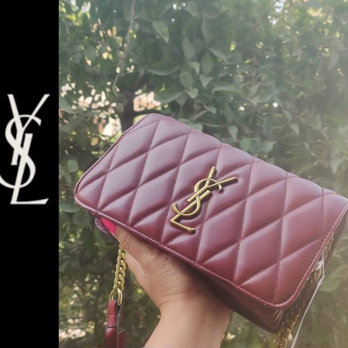 First Copy YSL Wine Red Color Mini Sling Bag YSL-9014#WineRed
