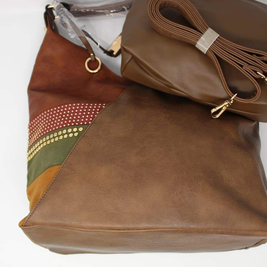 First Copy Zara Old Copper Colour Design Hand Bag With Pouch Set Of Two