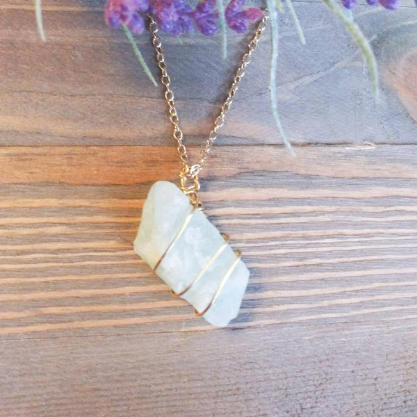 Aquamarine Hand Wrapped Crystal Necklace | Handmade Intention Jewelry