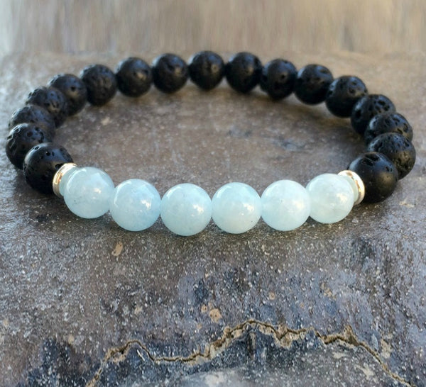 Blue Aquamarine and Black Lava Stone Crystal Diffuser Bracelet | Crystal Intention Jewelry