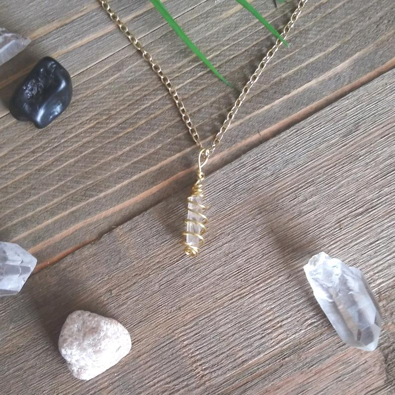Clear Quartz Hand Wrapped Crystal Necklace | Handmade Intention Jewelry