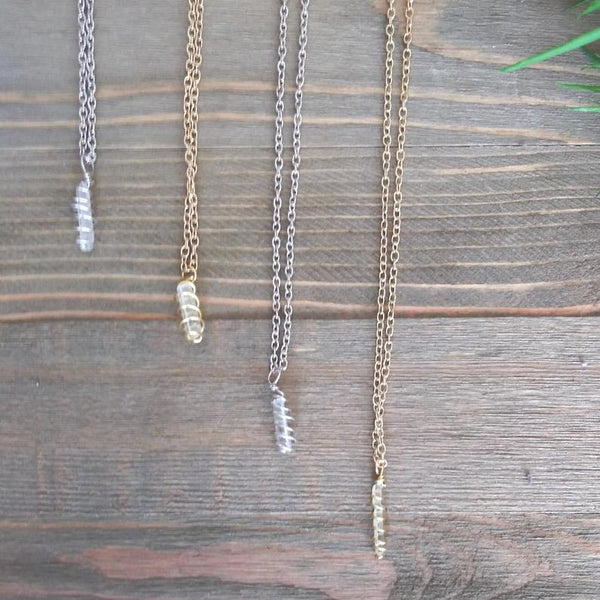 Clear Quartz Hand Wrapped Crystal Necklaces, silver and gold | Handmade Intention Jewelry