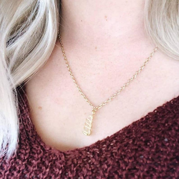 Clear Quartz Hand Wrapped Crystal Necklace, on a blonde's neck | Handmade Intention Jewelry