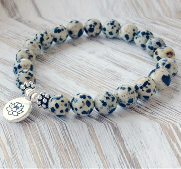 Dalmatian Stone Bracelet | Crystal Jewelry | Intention Jewelry | Crystal Bracelet | Crystal Healing | Jasper Stone