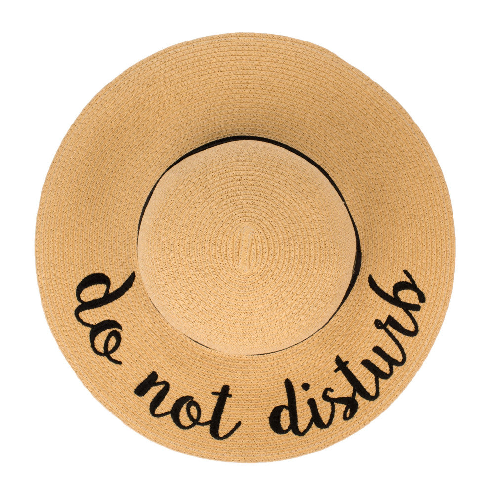 "Trendy tan ""Do Not Disturb"" sun or beach hat with black embroidery and trim."