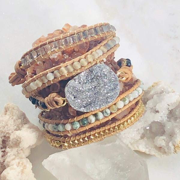 Warm & Cool Druzy Agate Leather Wrap Bracelet