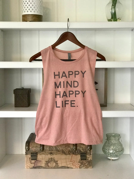 Happy Mind Happy Life Pink | Women's Inspirational Shirts