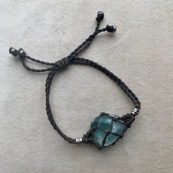 Macrame Crystal Pouch Bracelet with Fluorite, side angle.
