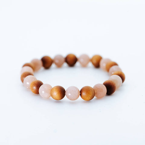 Pink Moonstone & Sandalwood Crystal Bracelet | Women's Intention Jewelry