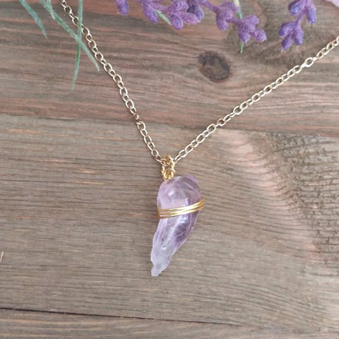 Raw Amethyst Hand Wrapped Crystal Necklace