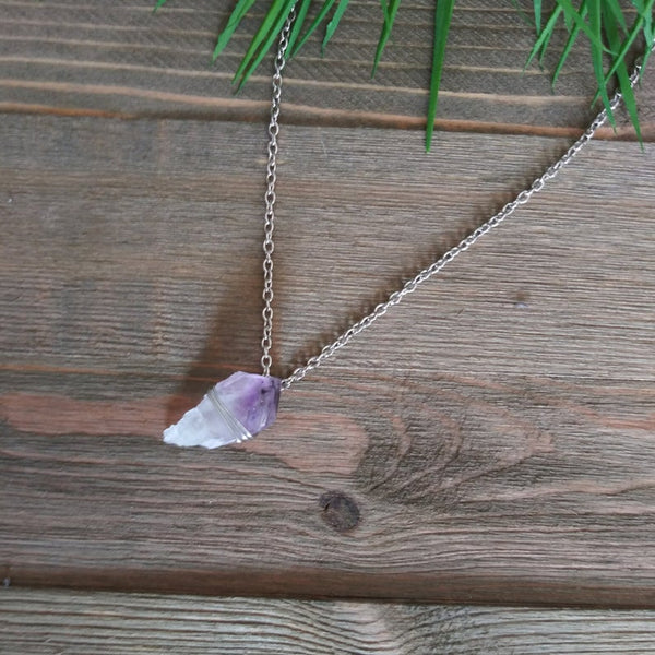 Raw Amethyst Crystal Silver Necklace | Intention Jewelry