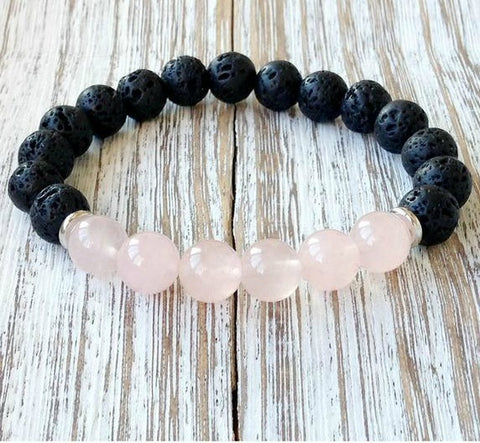 Rose Quartz and Black Lava Stone Crystal Diffuser Bracelet | Crystal Intention Jewelry
