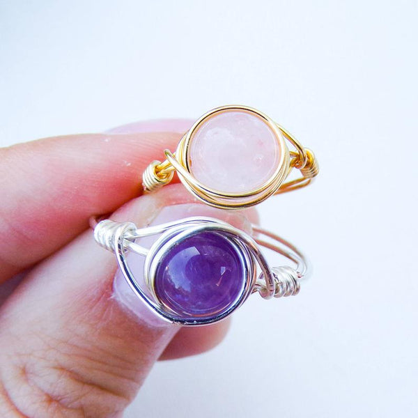 Crystal Handmade Wire Wrapped Rings | Crystal Jewelry