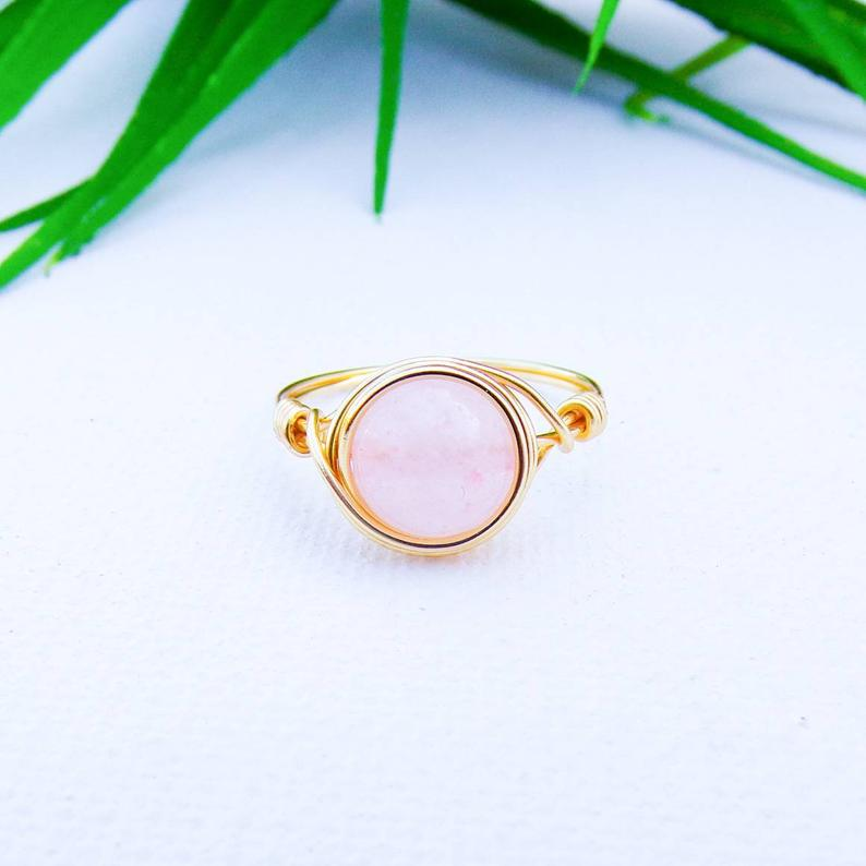Rose Quartz Handmade Wire Wrapped Ring | Women's Crystal Jewelry