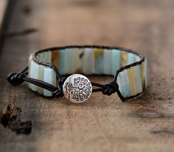 Handmade Amazonite crystal stone natural dark leather wrap bracelet with adjustable silver tree of life clasp.