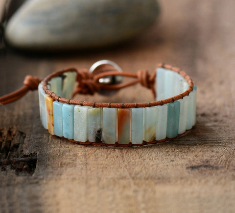 Handmade Amazonite crystal healing stone natural leather wrap bracelet with adjustable silver tree of life clasp.