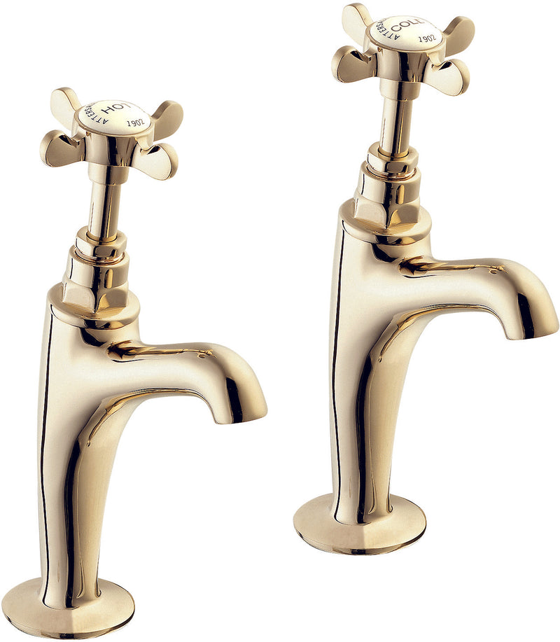 Coronation high neck sink taps - gold