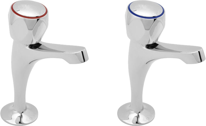 Profile sink taps with metal backnuts