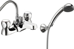 Profile deck mounted bath shower mixer