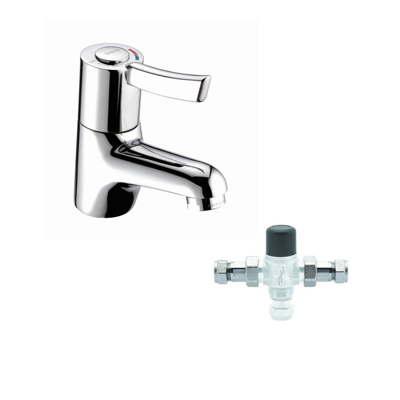 Lever Action Sequential Mono Basin Mixer with 15mm Thermostatic Blending Valve