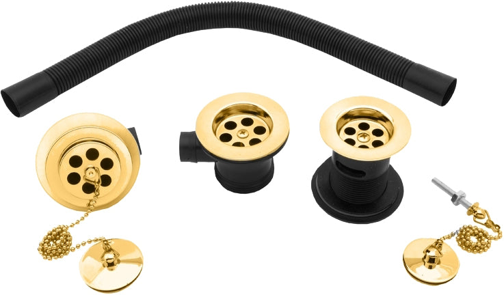 "1 1/4"" BASIN, 1 1/2"" BATH WASTE AND OVERFLOW SET - Gold"