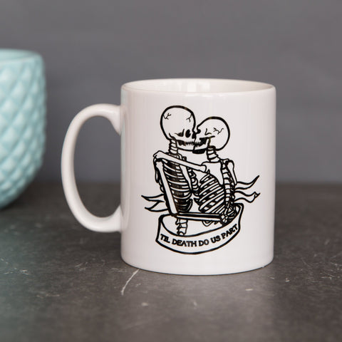 Tattoo Inspired Gift - Skeleton Couple 'Til Death Do Us Part' Personalised Camping Mug - For Him Or Her