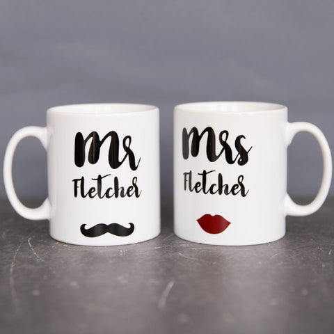 Couple's Wedding Gift - Mr & Mr, Mrs & Mrs, Mr & Mrs Moustache Lipstick - Mug Set