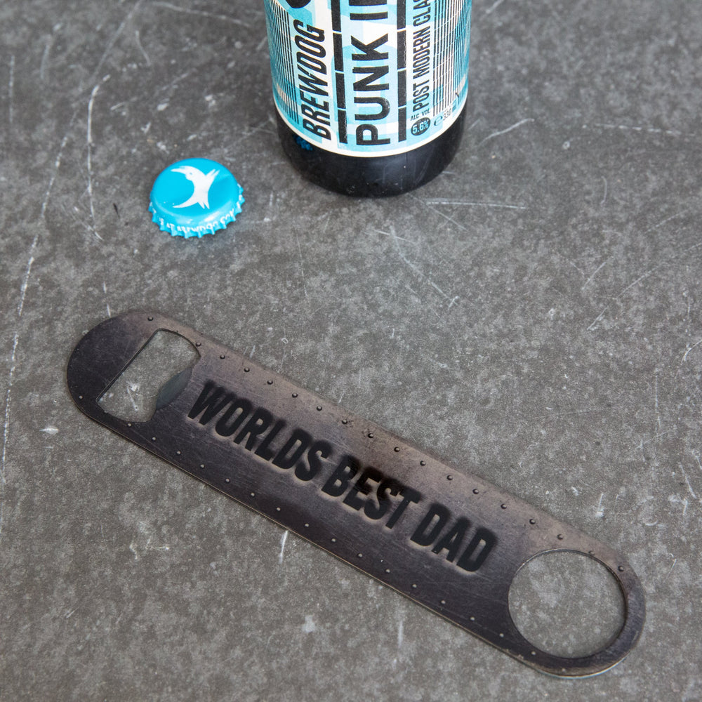 Steel Rig Bar Blade Bottle Opener For Dad - Any Personalisation - Ideal For Crossfit Or Superhero Fan