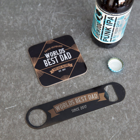 World's Best Dad Bar Blade - Vintage Hipster Style Bottle Opener - Father's Day Gift