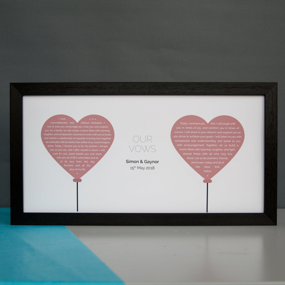 Paper 1st Anniversary Gift - Wedding Vows Or Readings Personalised In Balloon Design - For Her